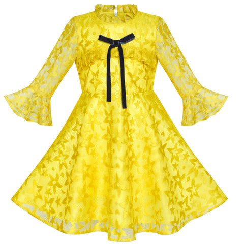 Girls Dress Lace Yellow Lotus Sleeve Party Dress Size 6-12 Years