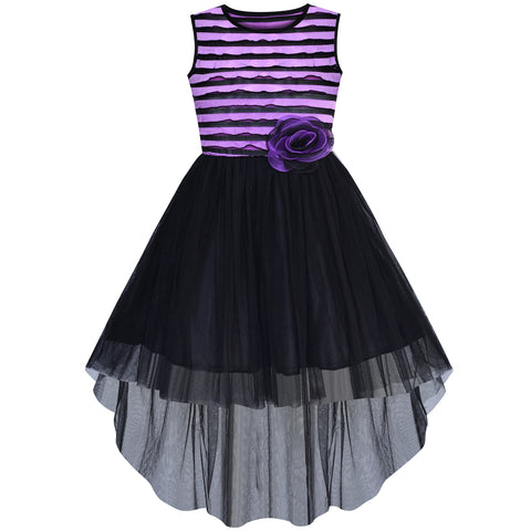 Girls Dress Hi-lo Skirt Black And Purple Party Pageant Size 7-14 Years