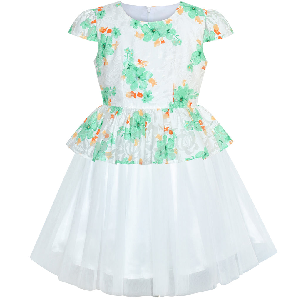 Girls Dress Pink Flower Cap Sleeve Tulle Skirt Size 7-14 Years