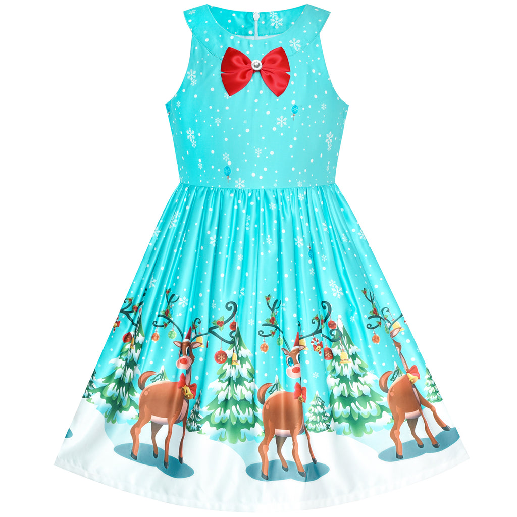 Girls Dress Blue Christmas Tree Snow Reindeer New Year Size 7-14 Years