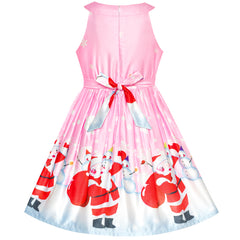 Girls Dress Pink Snow Santa Reindeer New Year Size 7-14 Years