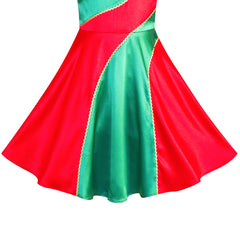Girls Dress Christmas Xmas Red Green New Year Party Size 6-12 Years