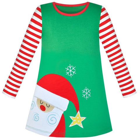 Girls Dress Santa Embroidery Green Cotton Long Sleeve Size 2-6 Years