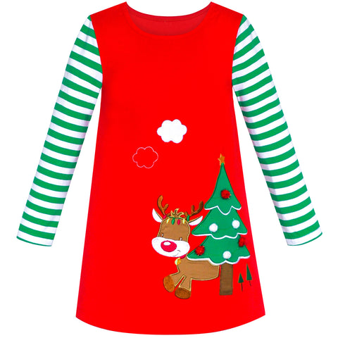 Girls Dress Christmas Tree Red Cotton Long Sleeve Size 2-6 Years