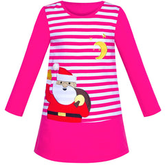 Girls Dress Christmas Santa Pink Cotton Long Sleeve Size 2-6 Years