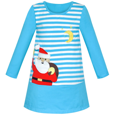 Girls Dress Christmas Santa Blue Stripe Cotton Size 2-6 Years