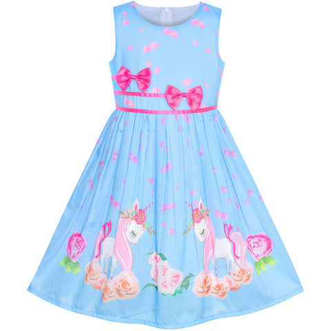 Girls Dress Blue Unicorn Flower Summer Sundress Size 4-12 Years
