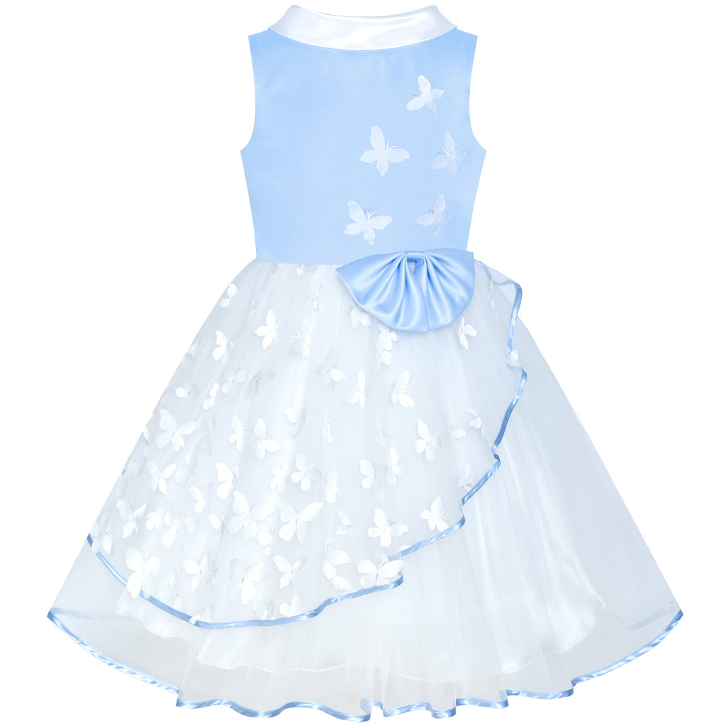 Flower Girls Dress Blue And White Butterfly Pageant Size 6-12 Years