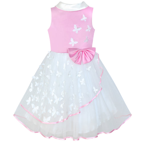 Flower Girls Dress Pink And White Butterfly Pageant Size 6-12 Years