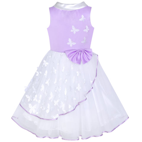 Flower Girls Dress Purple And White Butterfly Pageant Size 6-12 Years