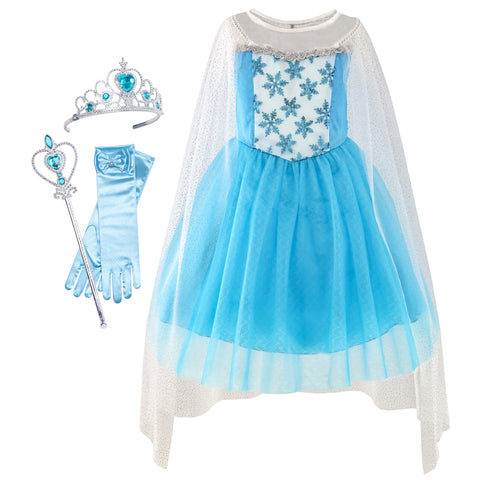 Girls Dress Elsa Princess Dress Up Accessories Crown Magic Wand Size 3-12 Years