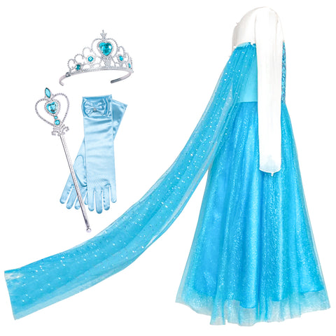 Girls Dress Elsa Princess Accessories Crown Magic Wand Size 3-12 Years