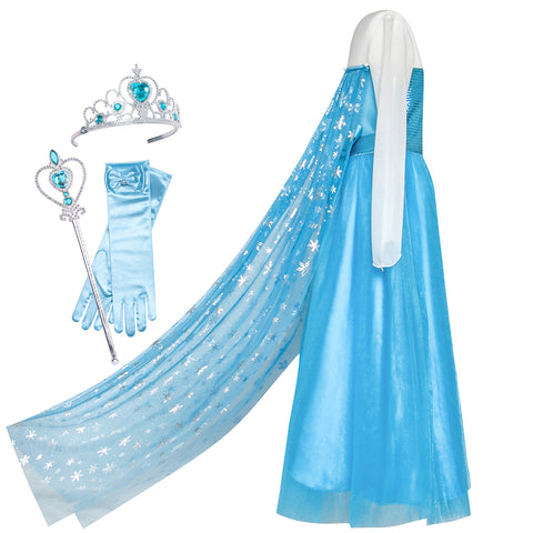 Girls Dress Elsa Princess Accessories Crown Magic Wand Costume Size 4-12 Years