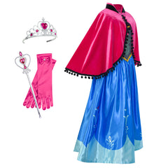 Princess Dress Anna Costume Accessories Crown Magic Wand Size 5-12 Years