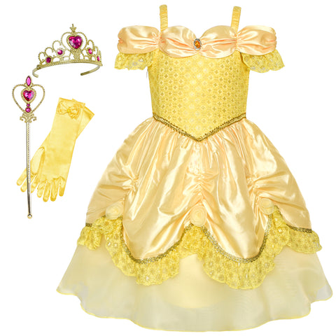 Girls Dress Belle Costume Accessories Crown Magic Wand Size 3-8 Years