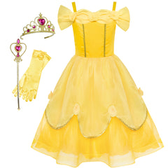 Girls Dress Belle Costume Accessories Crown Magic Wand Size 6-12 Years