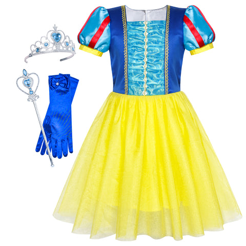 Snow White Dress Up For Girls Accessories Crown Magic Wand Size 5-12 Years