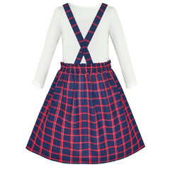 2 Pieces Set Girls Dress T-Shirt Suspender Skirt School Size 4-12 Years