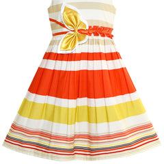 Girls Dress Cotton Striped Butterfly Everyday Sundress Size 4-12 Years