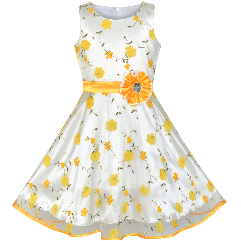 b56904e4ebde Girls Dress Yellow Floral Tulle Birthday Party Wedding – Sunny Fashion