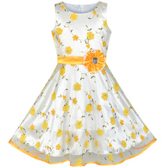 Girls Dress Yellow Floral Tulle Birthday Party Wedding Size 4-12 Years