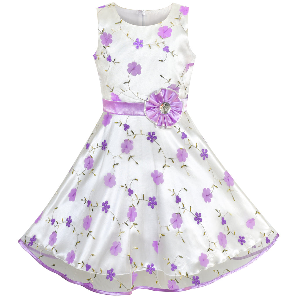 Girls Dress Purple Floral Tulle Birthday Party Wedding Size 4-12 Years