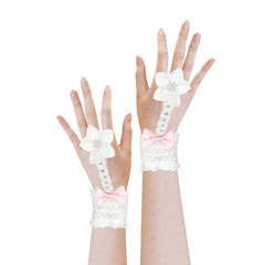 Flower Girl Dress Off White Rhinestone Gloves Wedding Party Size 6-12 Years