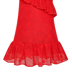 Girls Dress A-line Red Lace Ruffle Skirt Birthday Party Size 6-12 Years