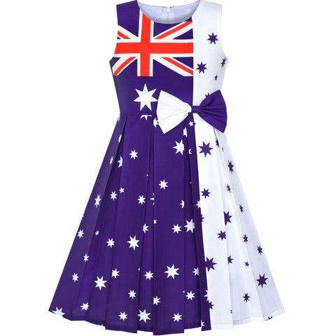 Girls Dress Australia National Flag National Day Color Contrast Size 4-14 Years
