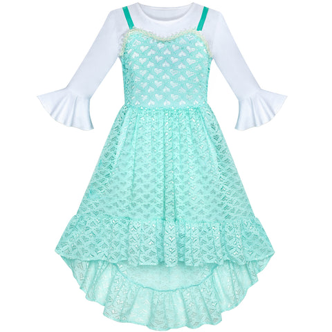 2 Pieces Set Girls Dress White Long Shirt Lace Hi-low Dress Size 6-12 Years