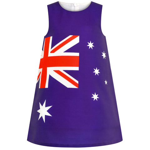Girls Dress Australia National Flag A-line Dress Size 4-8 Years