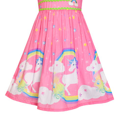 Girls Dress Pink Unicorn Rainbow Summer Sundress Size 4-12 Years