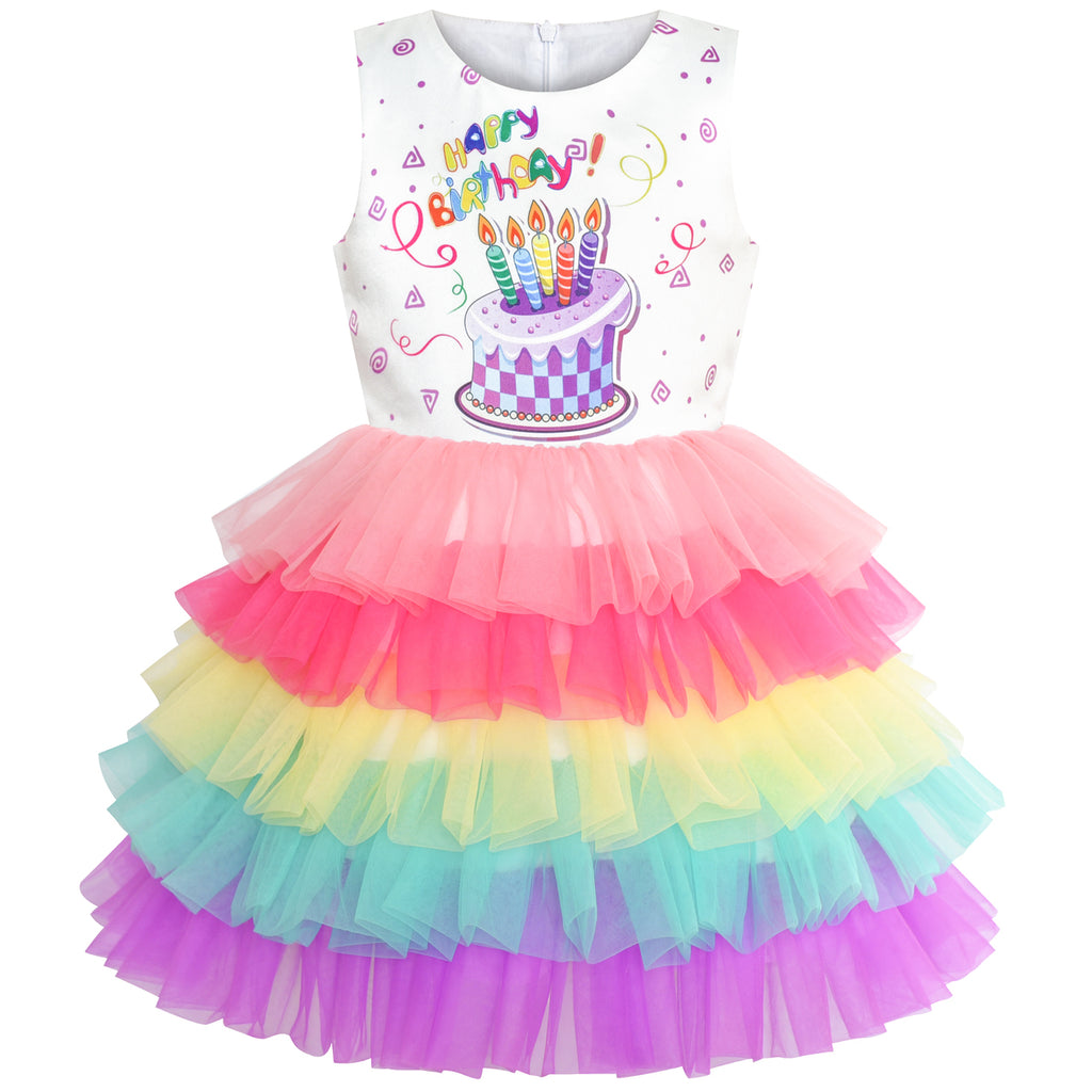 Girls Dress Birthday Princess Rainbow Cake Balloon Size 3-10 Years