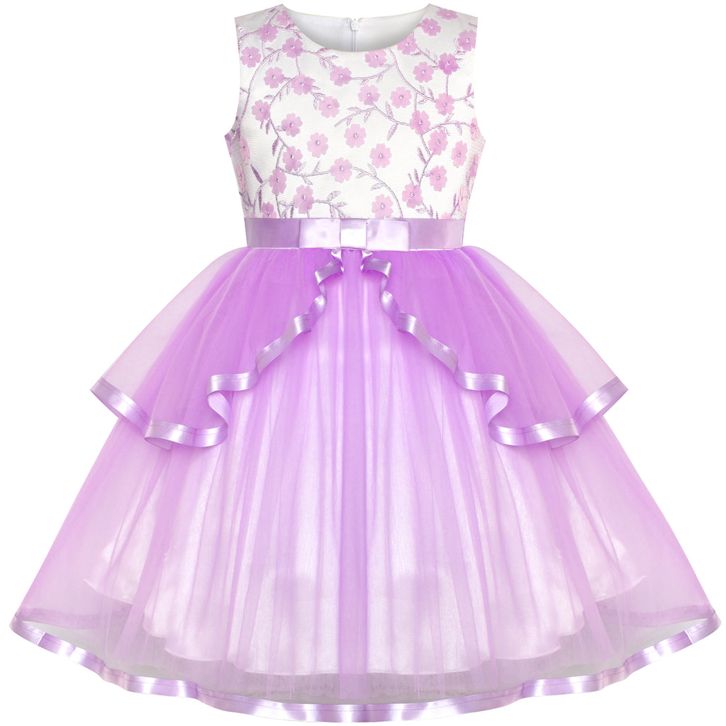 Flower Girls Dress Purple Tiered Skirt Bridesmaid Wedding Size 6-12 Years