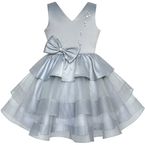 Girls Dress Gray Lustrous Satin Rhinestone Birthday Party Size 6-12 Years