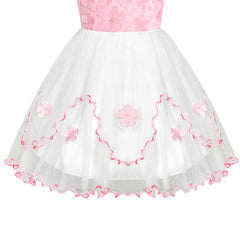 Flower Girls Dress Pink White Wedding Party Bridesmaid Size 6-12 Years
