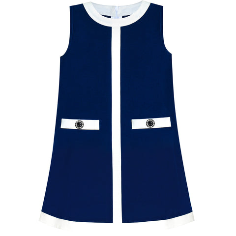 Girls Dress Navy Blue School Uniform A-line Size 4-10 Years