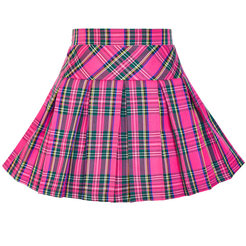 Girls Skirt Back School Uniform Pink Tartan Skirt Size 6-14 Years