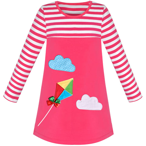 Girls Casual Dress Cotton Long Sleeve Kite Cloud Embroidered Size 2-6 Years