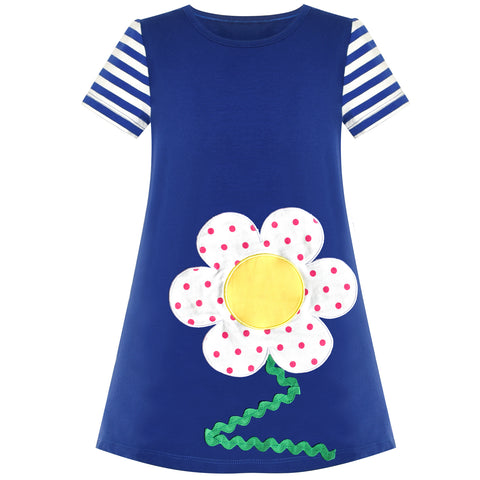 Girls Casual Dress Cotton Short Sleeve Flower Embroidered Size 2-6 Years