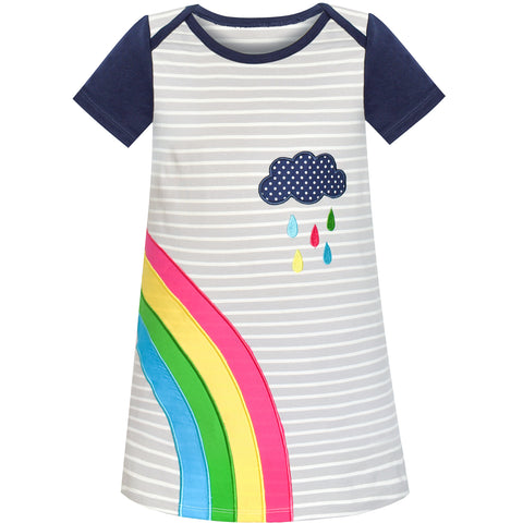 Girls Casual Dress Cotton Short Sleeve Rainbow Embroidered Size 2-6 Years