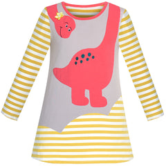 Girls Casual Dress Cotton Long Sleeve Dinosaur Embroidered Size 2-6 Years