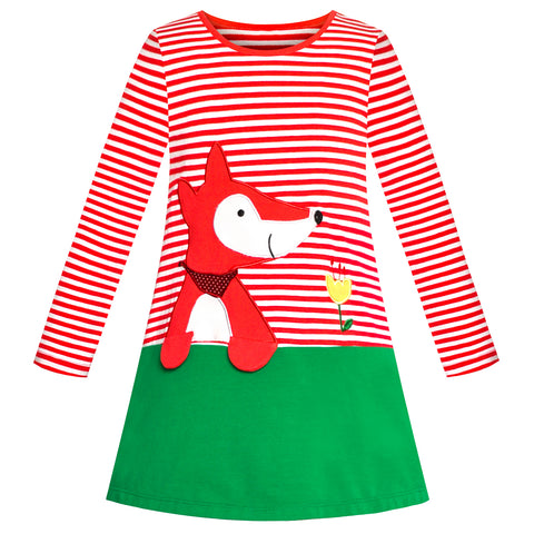 Girls Casual Dress Cotton Long Sleeve Fox Embroidered Size 2-6 Years