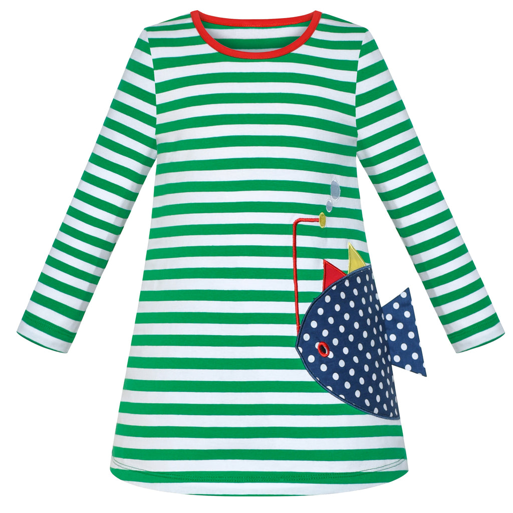 Girls Casual Dress Cotton Long Sleeve Fish Embroidered Size 2-6 Years