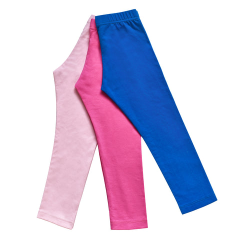 Girls Pants 3-Pack Cotton Leggings Stretchy Toddler Kids Size 2-6 Years