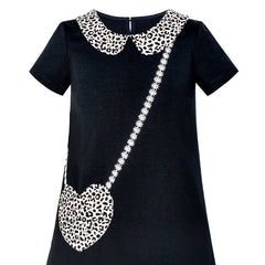 Girls Dress Casual Short Sleeve Leopard Collar Heart Pocket Bag Size 5-10 Years