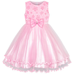 Girls Dress Pink Flower Tulle Pleated Wedding Party Size 2-10 Years