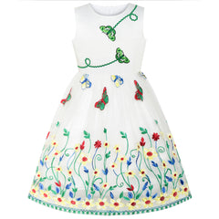 Girls Dress Butterfly Flower Party Birthday Size 6-12 Years