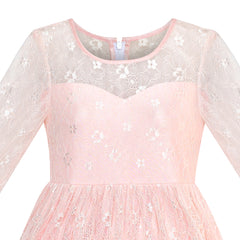 Girls Dress Lace Long Sleeve Maxi Pink Wedding Party Size 7-14 Years