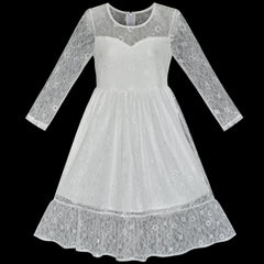 Girls Dress Lace Long Sleeve Off White Wedding Party Size 7-14 Years